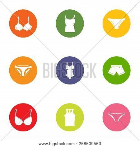 Undergarment Icons Set. Flat Set Of 9 Undergarment Vector Icons For Web Isolated On White Background