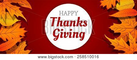 Autumn Thanksgiving Day Concept Banner. Cartoon Illustration Of Autumn Thanksgiving Day Vector Conce