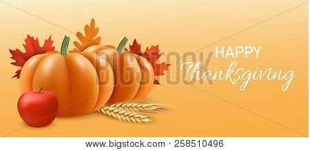 Happy Thanksgiving Concept Banner. Realistic Illustration Of Happy Thanksgiving Vector Concept Banne