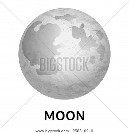 Moon Icon. Realistic Illustration Of Moon Vector Icon For Web Design Isolated On White Background