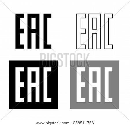 EAC EurAsian Conformity mark Vector isolated mark symbol on black background set . poster