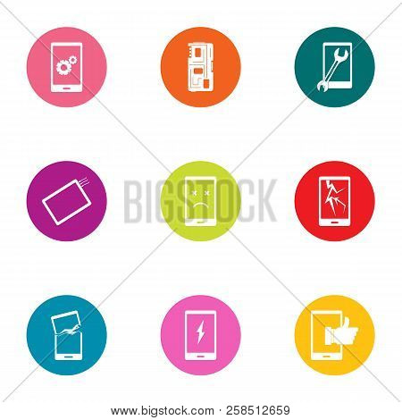 Telephone Commerce Icons Set. Flat Set Of 9 Telephone Commerce Vector Icons For Web Isolated On Whit