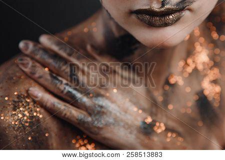 Halloween Make Up. Portrait Pale Gothic Daemon Woman.