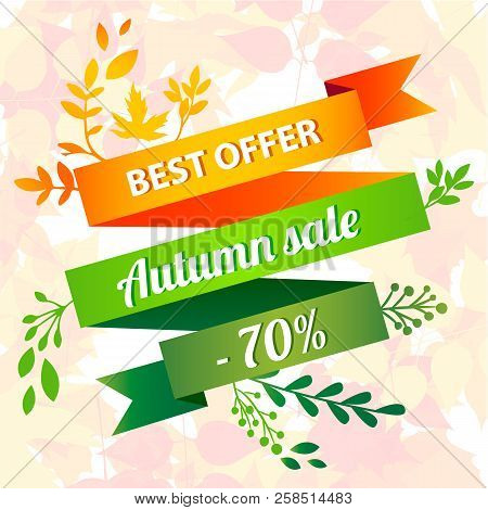 Best Offer Autumn Sale Concept Background. Cartoon Illustration Of Best Offer Autumn Sale Vector Con