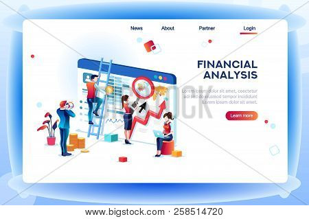 Finance Analysts. Concept Of Analytics For Website, Small Social Presentation, Magnifying Infographi