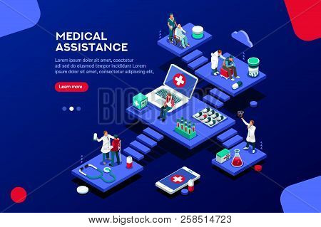Persons At Office, Medical Assistance. Patient Room With Healthcare Insurer. Clinic Insure A Doctor.