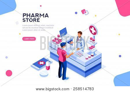 Patient And Pharmacist Doctor Infographic, Healthy Recipe Element, Medicament For Aid, Professional