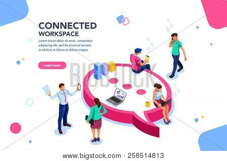 Isometric Concept, Wifi Connected People, Bar Presentation. Occupation Plan, Workplace For Team Coop