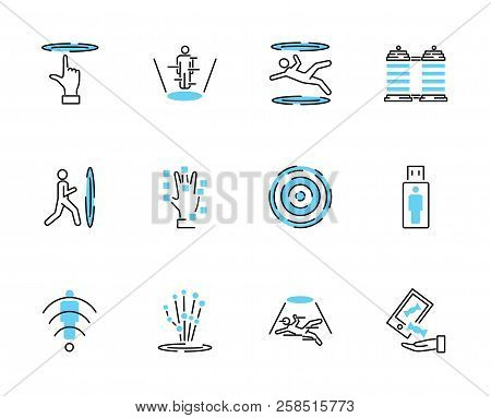 Teleporting Icon Collection Set. Vector Illustration With Matter Transportation Technology. Futurist