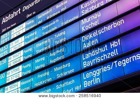 Creative Abstract Business Travel And Railway Transportation Concept: Railroad Departure And Arrival