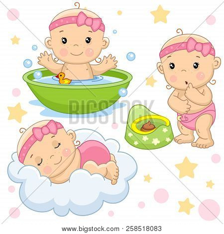 Set Of Images Of Little Children Of Girls And Baby For Design, Washing In The Bathroom With A Douche