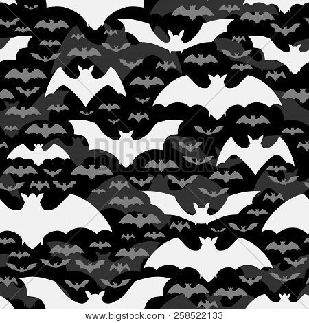 Halloween Abstract Seamless Pattern Design With White And Grey Flying Bats On Black Background Flat