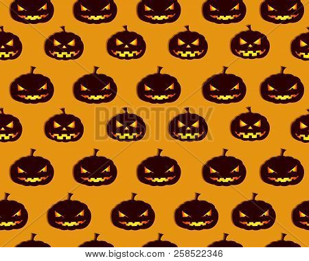 Halloween Abstract Seamless Pattern Design With Pumpkins Faces On Orange Background Flat Vector Illu