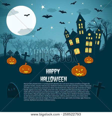 Happy Halloween Magic Night Picture With Gothic Castle Gravestones And Glowing Pumpkins Flat Vector