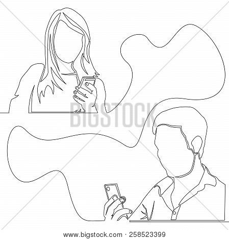 Continuous One Line Drawn Social Network Chat Teamwork Concept Man And Woman Chatting Vector Illustr