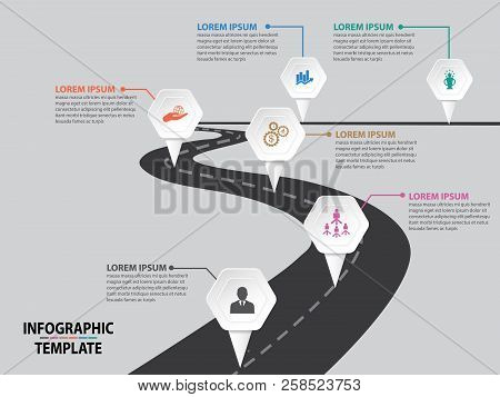 Business Designed Road Signs Map Timeline Infographic Background With Colorful Hexagon Pin Pointer V