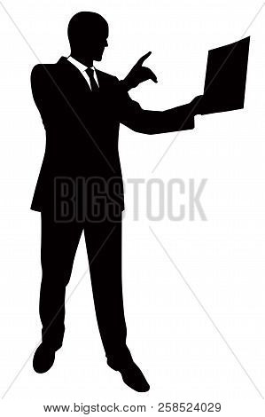 Silhouette Of A Man In A Business Suit Presenting A Report - Vector