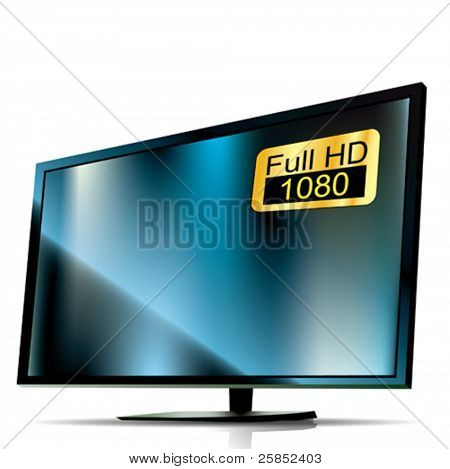 Vector Blue Plasma Tv. 3D