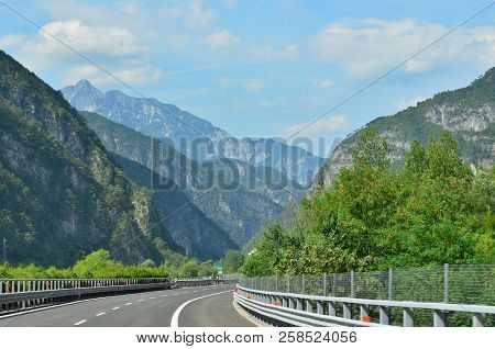 The A23 Motorway Runs Through The Alps, Italy
