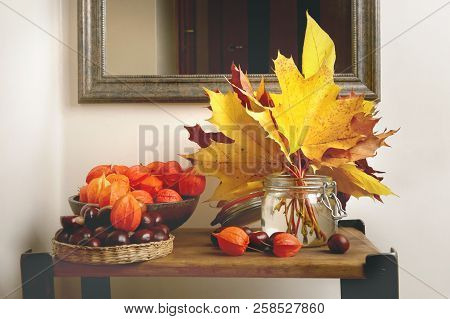 Autumn Plant Decorations In Interior. Bouquet Of Maple Leaves, Chestnuts And Chinese Lantern Plants