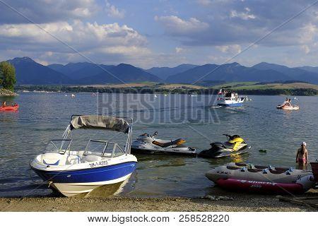 Liptovska Mara. Slovakia - August 07, 2018: Boats On Liptovska Mara Lake, Slovakia Landscape, High T