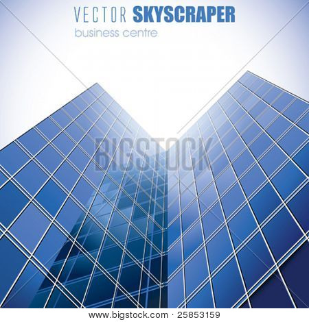 VECTOR  Blue Skyscrapers with Sun