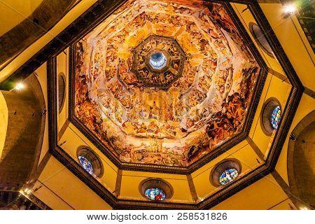 Florence, Italy - September 23, 2017 Giorgio Vasari Fresco Jesus Last Judgment Dome Duomo Cathedral
