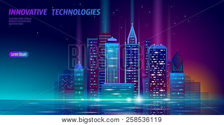 Smart City 3d Neon Glowing Cityscape. Intelligent Building Automation Night Futuristic Business Conc