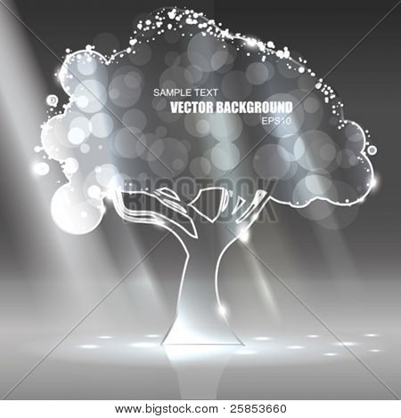 Vector Glass Tree with Light rays