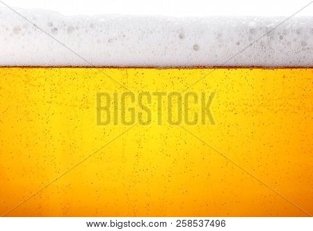 Close up background texture of lager beer with bubbles and froth in glass, low angle side view poster