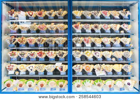 Tokyo, Japan - 19th June 2016: Shop window display in Harajuku, Tokyo, showing plastic versions of the sweet and savoury crepes for sale