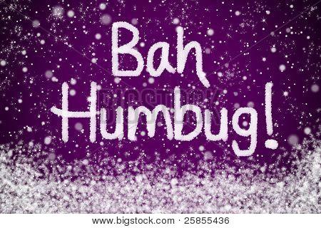 Bah Humbug Christmas Message on Purple Snow Background