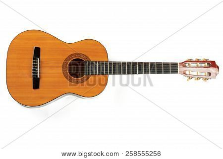 Guitar Isolated On White Background. Classical Acoustic Guitar, Horizontal Image. Traditional Instru