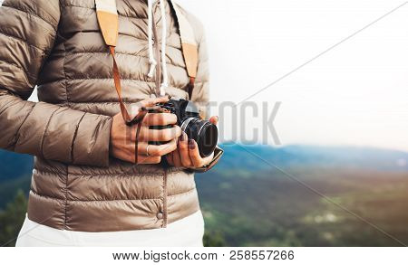 Photographer Traveler On Green Mountain, Tourist Holding In Hands Digital Photo Camera Closeup, Hike