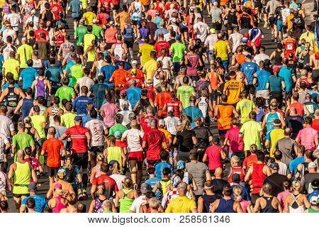 Berlin, Germany, 16.09.2018: Bmw Berlin-marathon 2018. Thousands Of Runners Participating. Marathon