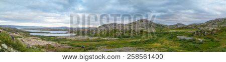 The Chain Of Lakes In The Tundra Of The Kola Peninsula In Inclement Weather, Green Moss And Lichens,