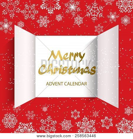 Christmas Advent Calendar Doors Open And Golden Letters. White Snowflakes On A Red Background. Vecto