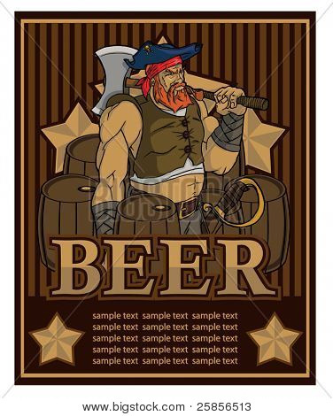 Beer label with a pirate. Vector template