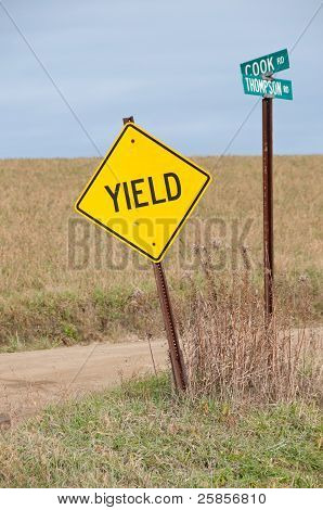 Yield Sign in Country