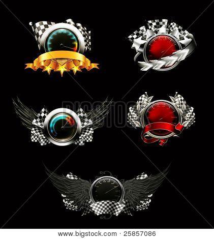Set of racing emblems, on black