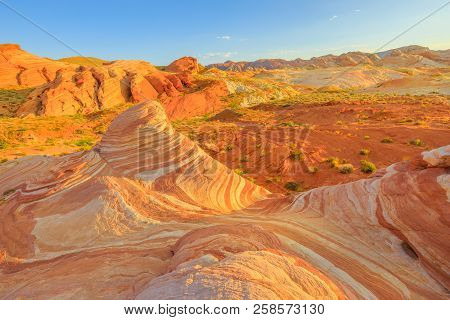 The Striped Landscape Of Popular Fire Wave Hike At Valley Of Fire State Park In Nevada, United State