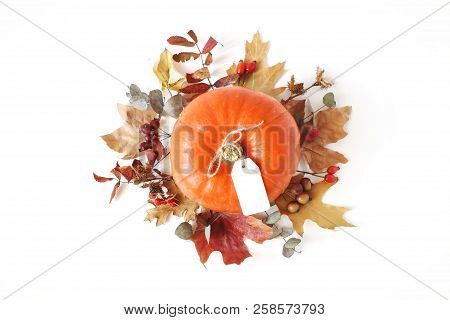 Autumn Floral Composition With Orange Pumpkin. Wreath Made Of Dry Maple, Eucalyptus Leaves And Berri