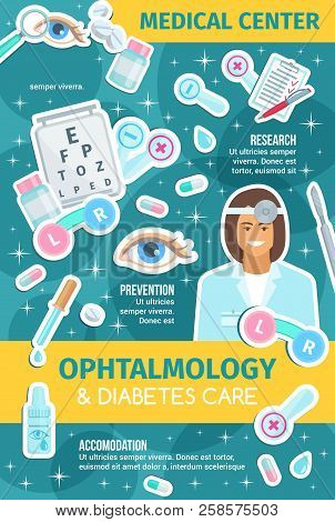 Ophthalmology Medicine Banner With Doctor, Eye Diagnostic Equipment And Surgery Instrument. Ophthalm