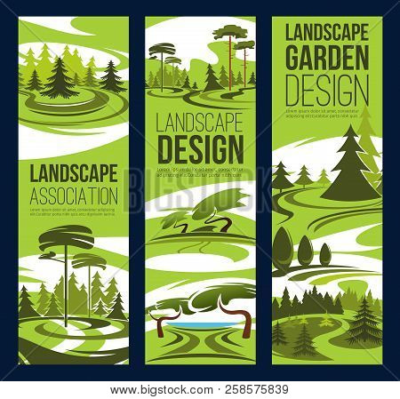 Landscape Design And Gardening Service Banners, Landscaping And Horticulture Company Theme. Eco Park