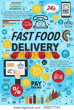 Fast Food Online Order And Delivery Service Infographics. Statistic Graph And Chart Of Fastfood Rest