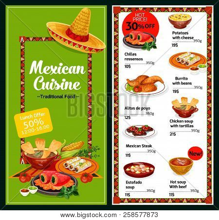 Mexican Cuisine Restaurant Menu Meat And Snack Dishes. Chicken And Tomato Soup With Tortilla And Bea