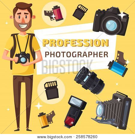 Photographer Profession, Photography Professional Equipment. Journalist Or Paparazzi With Digital Ph