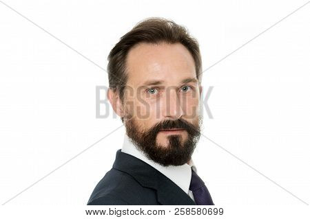Confident Businessman. Confident Middle Age Man In Formal Wear Look At Camera. Bearded Man. Business