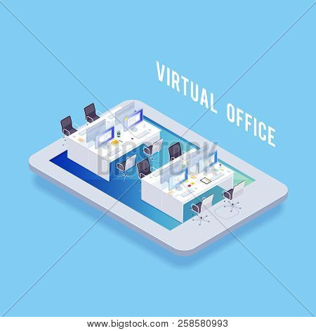 Isometric Concept Of Virtual Office. Joint Workspace. 3d Workplace. Vector Illustration.