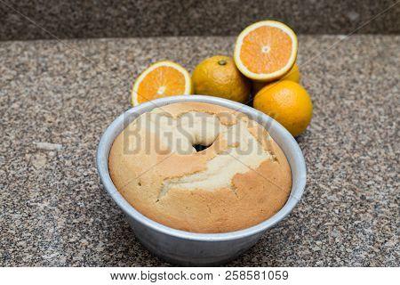 Fresh Homemade Orange Cake With Sweet Syrup